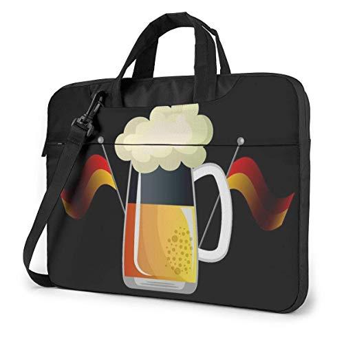 Laptop Sleeve Case, Duits bier en nationale vlag Aktetas Messenger Notebook Computer Bag 15.6 Inch