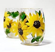 Hand Painted Sunflower Wine Glass Set of 4, Artisan Painted, Stemless Wine Glasses, 11oz