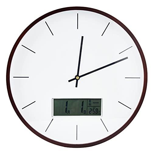 Reloj De Pared Para La Decoración De La Sala De Estar, Con Movimiento Silencioso Reloj De Pared Simple LCD Claro Y Fácil De Leer Para Cafés, Tiendas, Bares, Decoración De Paredes En(Escama-Nogal)
