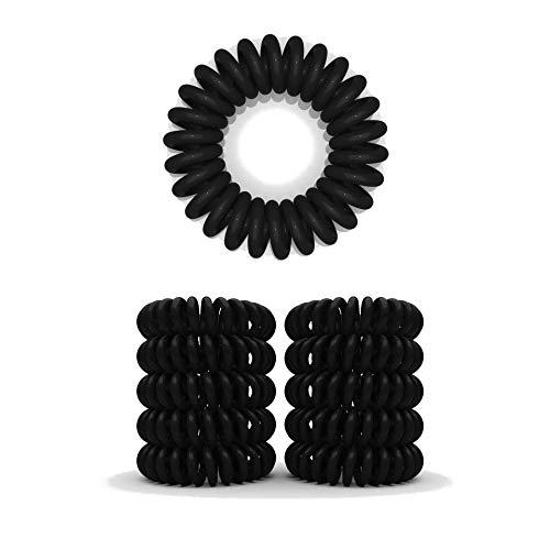 10er Set Spiral Haargummi - Haargummis für weniger Spliss und gebrochene Haare - Haargummi Spirale für feine Haarpartien - Telefonkabel Spiralhaargummi, Schwarz, 3,5 cm