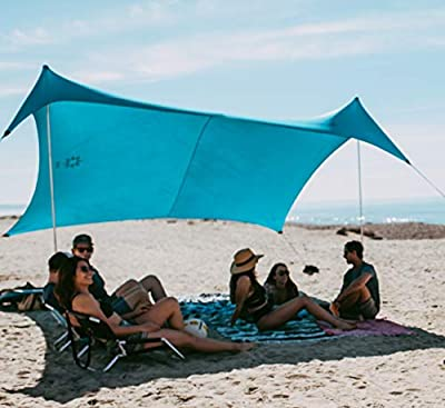 Neso Tents Gigante Beach Tent, 8ft Tall, 11 x 11ft, Biggest Portable Beach Shade, UPF 50+ Sun Protection, Reinforced Corners and Cooler Pocket (Teal)