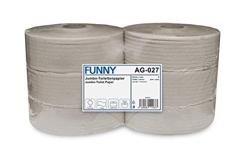 Funny AG-027 Jumbo-Toilettenpapier, 1-lagig, Recycling, Durchmesser 28 cm (6-er Pack)
