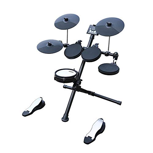 COOLMUSIC DD3 Eight Piece Electronic Drum Kit with Realistic Kick Pedal, Easy Assemble Rack and Drum Module including 30 Kits, USB and Midi connectivity