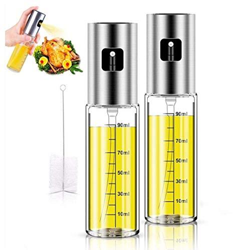 Pulverizador Spray Oliva Aceite,Pulverizador de Aceite portátil,100 ML Botella de Cristal con Cepillo de Tubo Extra,Ensalada,Pan Hornear,cocinar (2PC)