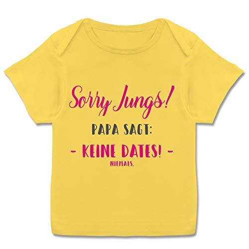 Preisvergleich Produktbild Sprüche Baby - Sorry Jungs Papa SAGT Keine Dates - 80-86 - Gelb - t.Shirt mit Spruch - E110B - Kurzarm Baby-Shirt für Jungen und Mädchen