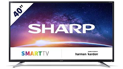 Sharp 40BG2E - Televisor Smart TV FHD de 40' - 40 Pulgadas WiFi - (resolución 1920 x 1080, 3 x HDMI, 2 x USB), Color Negro, Sonido Harman/kardon, Clase energética A+