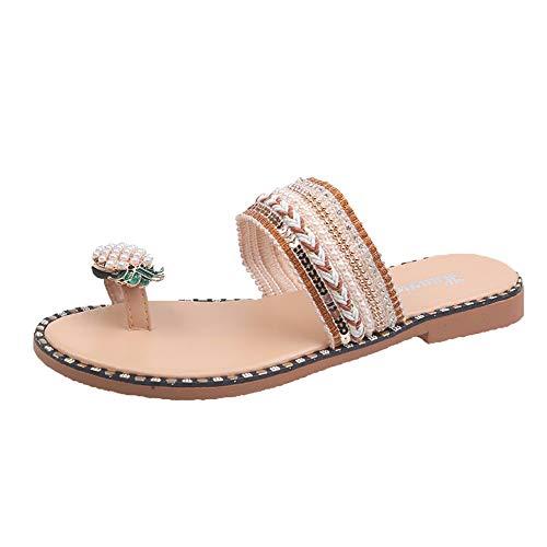 Damen Toe Loop Sandalen, Perle Ananas Strass Flache Sandalen Damen Sommer Bequeme Zehenring Lässige Strand Flache Hausschuhe