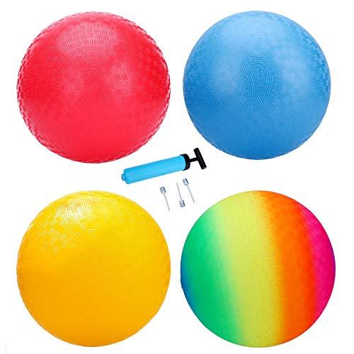 INPODAK Pack de 4 pelotas de juegos para niños y adultos, bolas de primera calidad con bomba, bolas de Dodge suaves de 8.5 pulgadas para jugar en interiores y exteriores