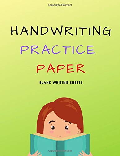 Handwriting Practice Paper: Blank Writing Sheets Notebook for Preschool and Kindergarten Kids, 8.5x11 inches , 100 pages no.8