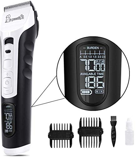 Pecute Dog Clippers Rechargeable Pet Clippers - LCD Display, 60 DB Ultra-Quiet Hair Clippers Set with 4h Work Time, Dog Trimmer Cordless Pet Grooming Tool Dog Hair Trimmer for Dogs Cats Pets