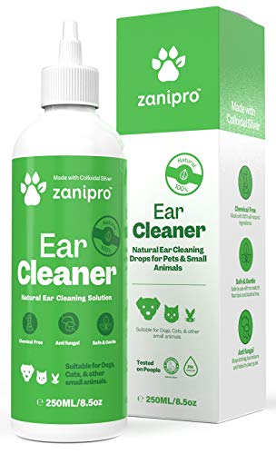 Zanipro Premium Dog Ear Cleaner with Colloidal Silver & Lavender (250 ML) - 100% Natural UK Made - Anti Smell, Itching and Head Shaking - Vet Recommended