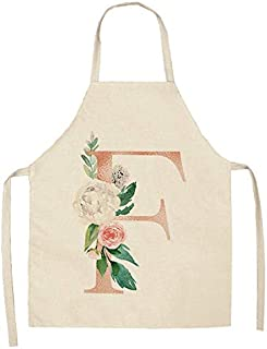 YUZHE 1 قطعة وردية مرايل مطبخ من القطن والكتان مرايل تنظيف منزلية مريلة طبخ منزلية 53 × 65 سم (اللون: F)