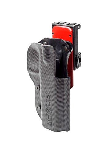 Ghost Nero Pantaloni Corti da tiro dinamico Sportivo Tasche con Bottoni a Scomparsa Unisex con Passanti Cintura in Velcro