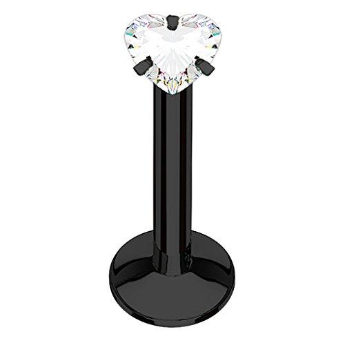 Piercingfaktor® Piercing Stab Stecker für Lippenpiercing Lippe Monroe Labret Lippen Ohr Tragus Helix Stud Cartilage mit Kristall Strass Herz Schwarz 8mm