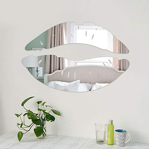 Labios Espejos Premium Adhesivo decorativo 3D Espejo decorativo Plata Oro Negro Mirror Wall Stickers Acrylic 3D Pro Decorative Mirror Stickers Lips Black Silver Gold Valentine's Gift (Silver) 25x13CM