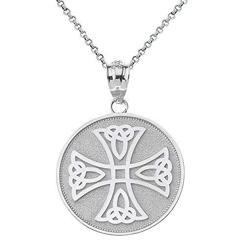 Solid 10k White Gold Infinity Knot Celtic Cross Medallion Pendant Necklace, 20'