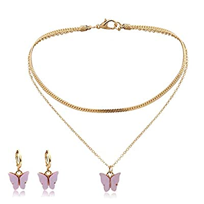 Butterfly Necklaces and Earrings Set for Women, 18k Gold Plated Dainty Butterfly Choker Necklace, Butterfly Layered Chain Necklace, Jewelry for Women and Girls with Gift Box (Bubble Gum Pink)