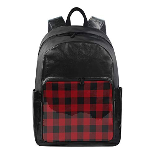 Funnyy Backpack Red Plaid Lattice Grid Geometric Shoulder Bag Hiking Camping Daypack School Travel Computer Bag for Kids Boys Girls Men Women