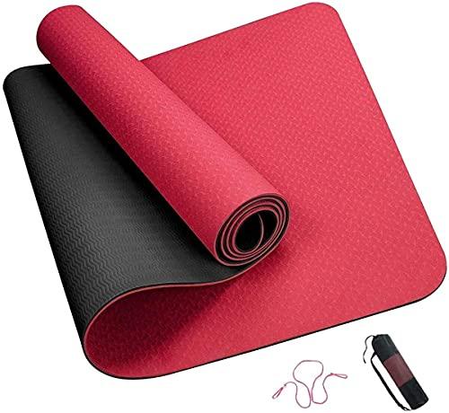 BOYISI Alfombra de yoga, respetuosa con el medio ambiente, antideslizante, para hombres y mujeres, alfombrillas de meditación para el hogar, gimnasio, pilates (color: Rouge)