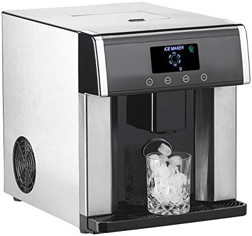 Rosenstein & Söhne Eiswürfelbereiter: Eiswürfelmaschine & Wasserspender V2 mit XL-Display, Edelstahl-Gehäuse (Icemaker)