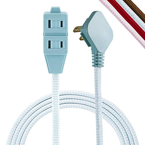 Cordinate, Mint/White, Designer 3 Extension, 2 Prong Power Strip, Extra Long 8 Ft Cable with Flat Plug, Braided Chevron Fabric Cord, Slide-to-Lock Safety Outlets, 39983, 8 ft, 8 Ft