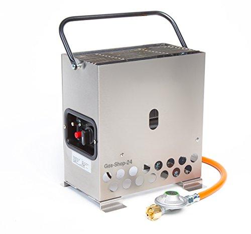 2,2 kW Edelstahl Gewächshausheizung/Frostwächter mit Gasschlauch + Druckminderer (Gasheizung, Heizung, Standheizung, Gewächshaus, Heatbox Campingheizung)