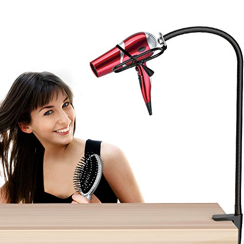 HOSOM Dryer Stand Hands Free, Stainless Steel Heavy Duty Table Blow Dryer Holder 360 Degrees Rotation with Adjustable Clamp for Hair Styling, Pet Grooming