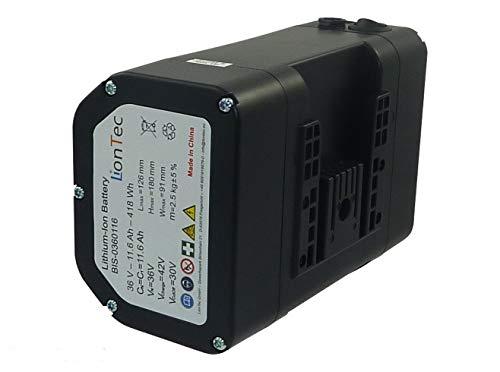 LionTec Fahrrad e-Bike Pedelec Handbike Ersatz Umbau Akku Batterie 36 V (37 V) - 11,6 Ah (ohne Kommunikation) inkl. Ladegerät