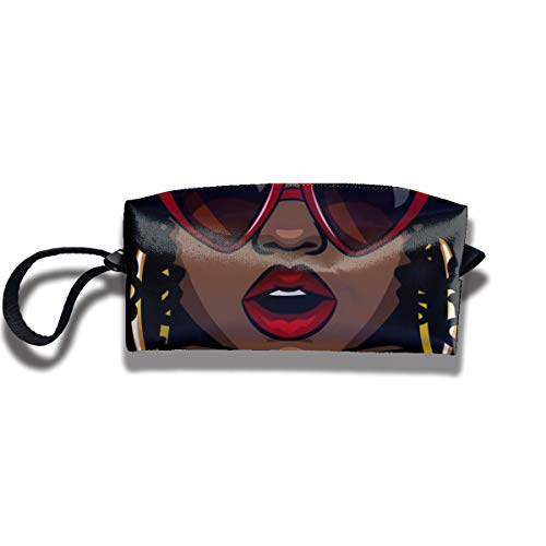 Bbhappiness Pouch Handbag Cosmetics Bag Case Purse Travel & Home Portable Make-up Receive Bag African Woman Eating Burger