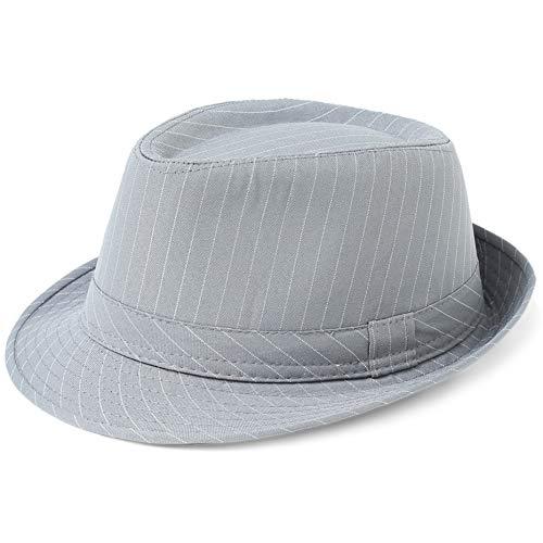 Coucoland Panama Hut Mafia Gangster Herren Fedora Trilby Bogart Hut Herren 1920s Gatsby Kostüm Accessoires (Grau Streifen)