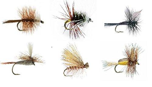 Feeder Creek Fly Fishing Assortment - 18 Flies in 6 Trout Crushing Patterns of Dry Flies (Renegade, Black Gnat, Elk Hair Caddis Tan, Bivisible Brown, Adams Parachute, Yellow Humpy) Sizes 12-14 (18)