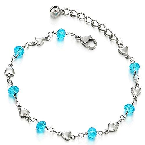 COOLSTEELANDBEYOND Edelstahl Damen-Fußkette Fußkettchen mit Herz und Blauen Perlen Acryl Kristall