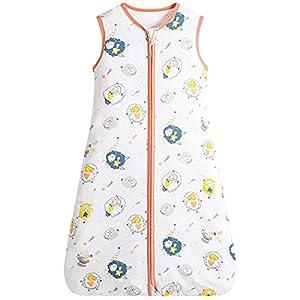 Saco de dormir para bebé de puro algodón, 0,5 tog, sin mangas, con cremallera bidireccional, súper suave, ideal para los meses de verano, 100% algodón, (M, oveja)