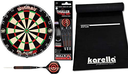 DARTS Sport Edition Winmau Blade 5 Dartboard Set mit Bull´s Thriller Steeldarts 23g und Dartmatte Karella Eco Star