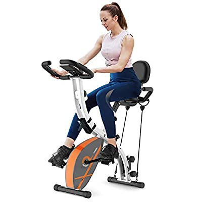 cycool Folding Exercise Bike Stationary 3 in 1 Indoor Cycling Magnetic Upright X-Shape Bikes with Arm Resistance Bands and Dumbbells Perfect Workout Cardio Machine for Men, Women, and Seniors