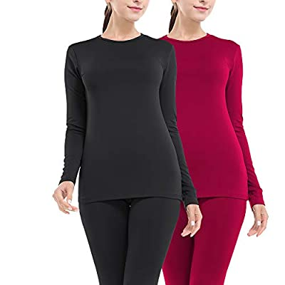 MANCYFIT Thermal Underwear for Women Long Johns Set Fleece Lined Ultra Soft 2 Pack Black/Red XX-Large