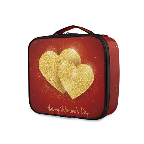 Boîte de rangement portable Lovely Heart Happy Valentines Tools Cosmetic Train Case Makeup Bag Toiletry Pouch Travel