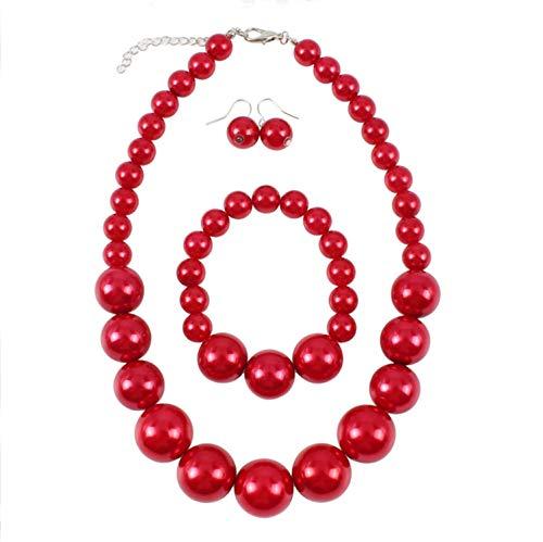 Shuny Schmuckset,Rote Perlenkette,Nachgemachte Perle,Damenschmuck-Collier-Set,Perlenkette, Perlenarmband und a Paar Ohrstecker,für Hochzeit/Events/Party