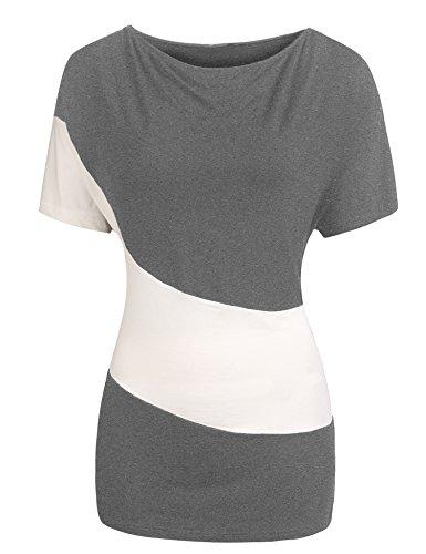 Parabler Damen Sommer Kurzarmshirt T-Shirt Bluse Tunika Asymmetrisch Locker Oberteil Tops mit Schlitz (1_Grau, EU 36(Herstellergröße:S))
