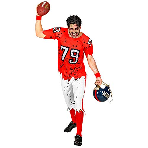 WIDMANN 03152 - Costume di carnevale da uomo Zombie American Football Player, taglia M, colore: Rosso/Bianco