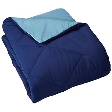 AmazonBasics Reversible Microfiber Comforter - King, Navy Blue