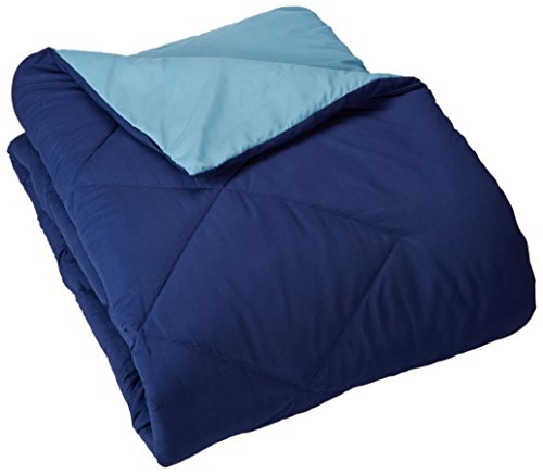 Amazon Basics Reversible Microfiber Comforter Blanket - King, Navy / Sky Blue