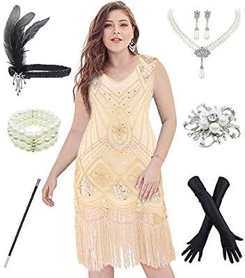 20s Plus Size Glamour Flapper Dresses Costume w/ 1920s Gatsby Accessories 6Pcs Set