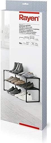 Rayen Zapatero apilable | Capacidad para 9 Zapatos | Fácil Montaje | Se Adapta a Cualquier Espacio | Dimensiones: 59 x 28 x 38, Metal, Non Woven, Gris