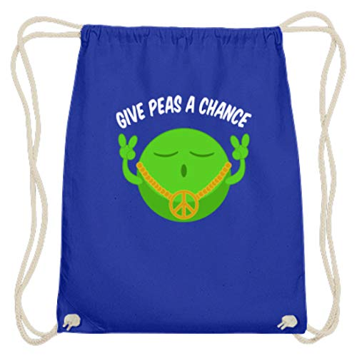 Give Peas A Chance - groene vredeserbse met peace ketting - katoen gymzak