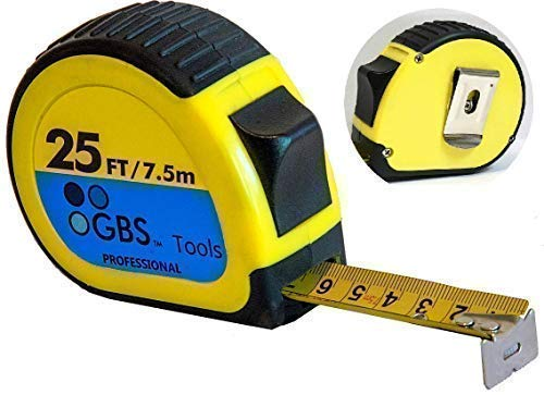 Retractable Measuring Tape Measure in Metric and Inches By GBS. 25 Feet, Heavy Duty, Easy Read, Thumb Lock, Belt Clip, Sturdy With Over 8 Feet Standout. Popular With Both Professionals and DIY Users