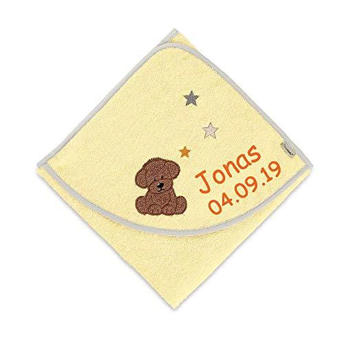 Sterntaler Kapuzenhandtuch Hund Hanno mit Namen bestickt 80x80 cm Handtuch Baby Geschenk zur Geburt Badehandtuch