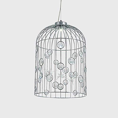 WEM Candelabros de cristal de jaula de pájaros vintage Luces colgantes de jaula de metal Galvanoplastia de aluminio dorado Lámpara de luz de techo de montaje empotrado en interiores,gris,30 centimetr