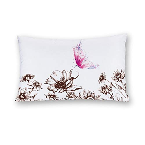 CICIDI Side Sleeper Pillow Cover 50x76 cm Butterfly Breathable Cushion Covers with Zip Cotton and Polyester, Long Body Pillow Case for Bed Sofa Decor