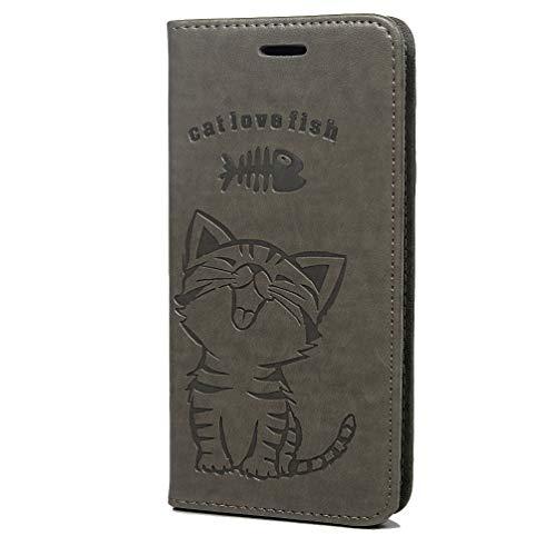Funda de piel A7 para Samsung Galaxy A7 2018, de poliuretano, con diseño de gato, con tapa, de silicona, con función atril, con cierre magnético gris gris